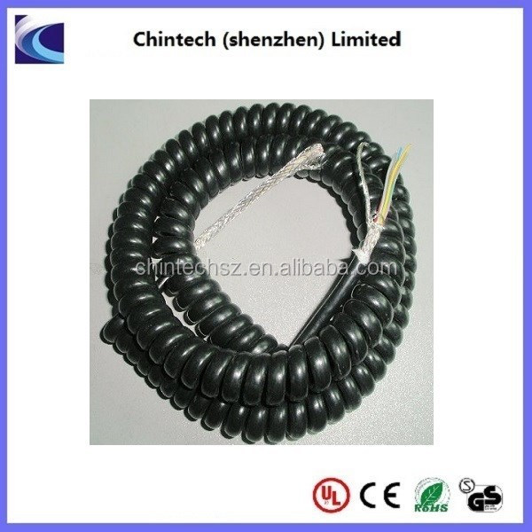Multi core spring coiled cable with AL foil, aluminum braid, filled with cotton fiber