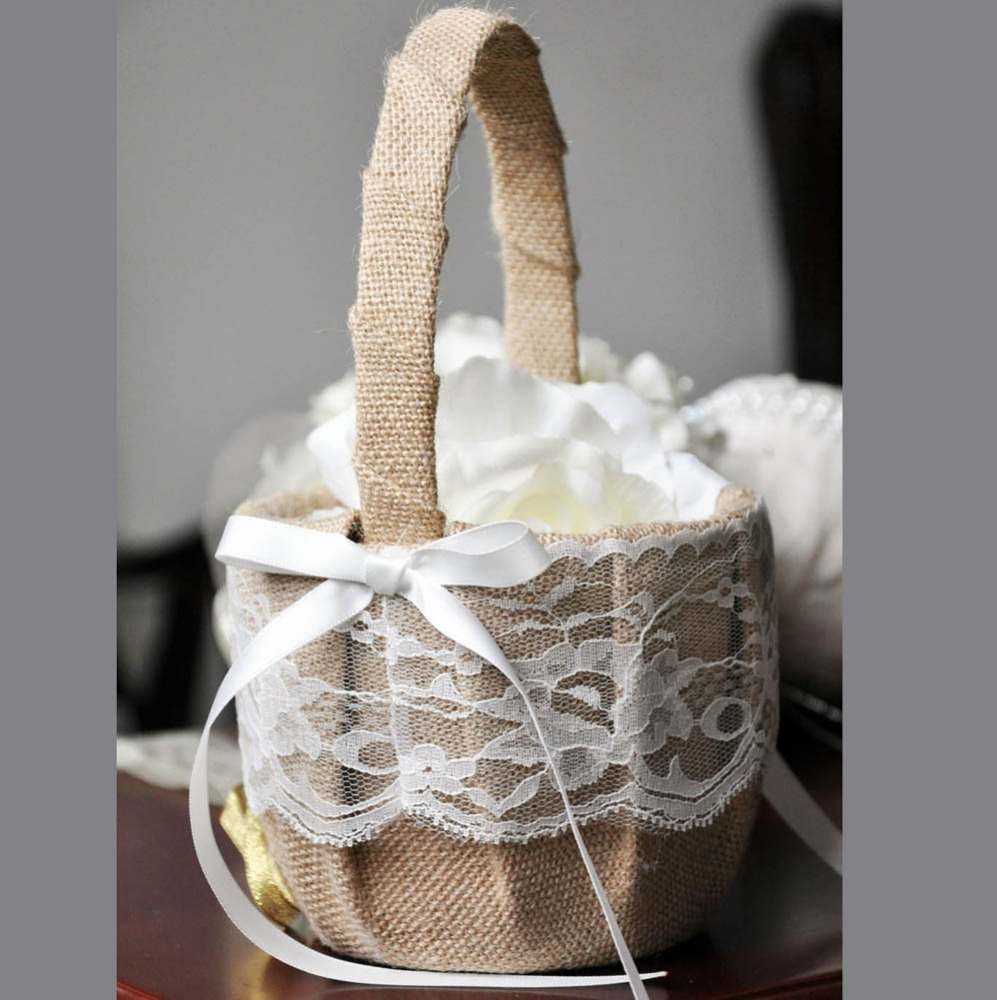 Linen flower decorated wedding baskets girls basket for wedding card flowers,gifts wedding accessories