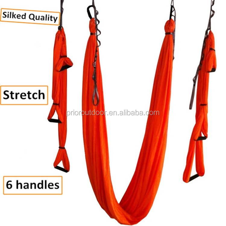 NEW! Upgraded Stretch silked aerial yoga swing 6 handles full set Antigravity Yoga hammock