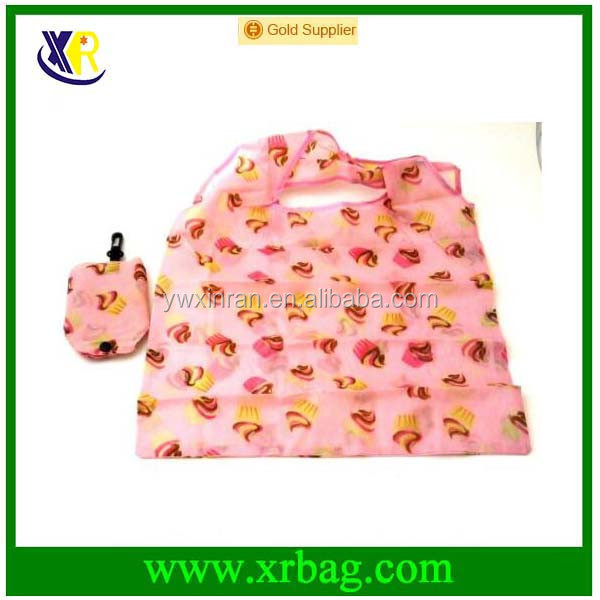 Mobile Phone Ice Cream Print Eco Friendly Foldable Reusable Grocery Portable Recycle Polyester Shopping Shoulder Bag