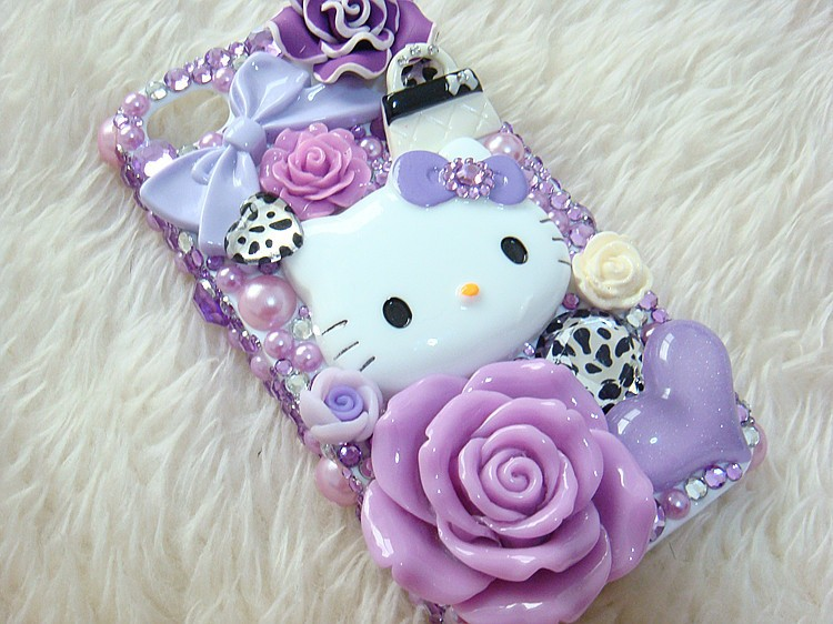 Bling DIY Purple Deco Hello Kitty Crystal Phone Mobile Case for galaxy note 5 case