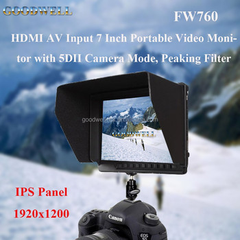 HDMI AV Input 1080 P Full HD DSLR Camera Mount 7 Inch Portable Video Monitor with Camera 5D II Camera Mode