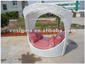2017 Trade Assurance most popular outdoor Unique design pvc white rattan metal garden modern day bed furniture for sale