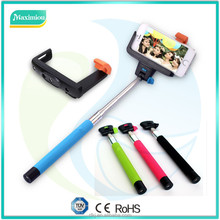 Crazy cheaper foldable customized packing wired selfie stick with aux cable hot sale selfie stick monopod