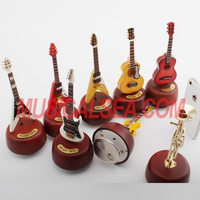 Wooden & Metal Hand Cranked mechanical miniature music box and Guitar Shape hand crank music box Item Type for decor
