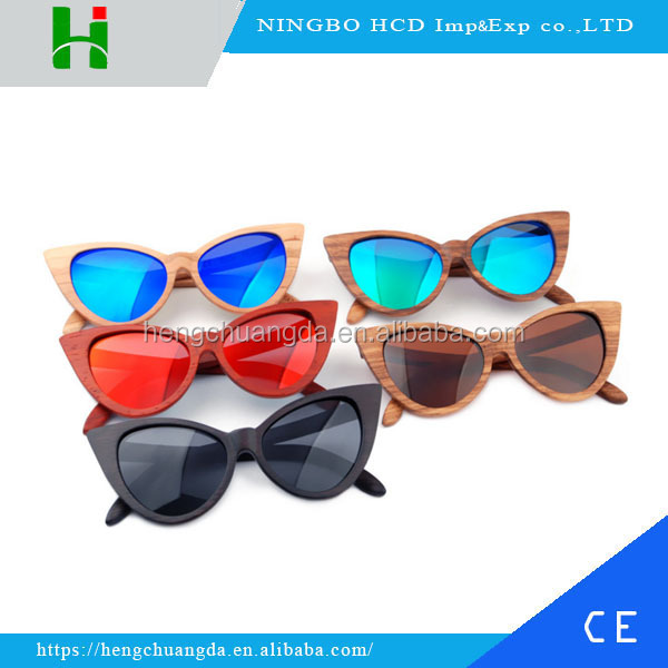 Vintage butterfly shape frame natural wood sunglasses with custom logo