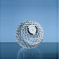 New Design Hot Sale Crystal Golf Ball Shaped Clock Paperweight as Office & Home Desktop Decoration