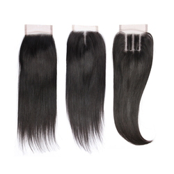 Cheap Three Part Straight Brazilian Virgin Human Remy Hair Extensions 4*4 Swiss Lace Closure