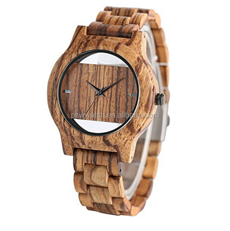 Luxury brand natural zebral wood custom logo wood wrist watch for men lady