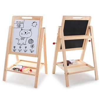 Wooden Double Sided Easel Kids Drawing Board Magnetic for Children Learning