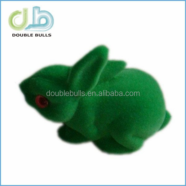 Plastic flocking rabbit toys / flocking animal for wholesales