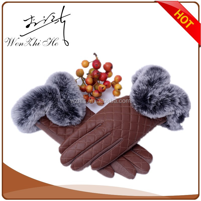 Bright Color Leather Winter Mittens With Fur