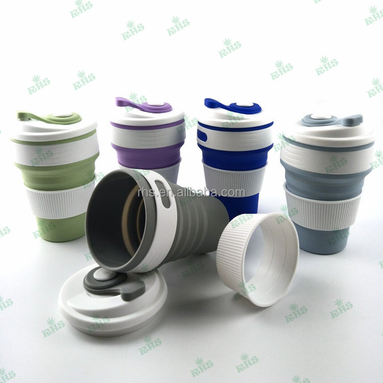 Newest baby sippy cup collapsible silicone sippy cup with lid easy to cleaning