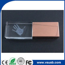 Factory price Custom LOGO Rose gold crystal usb memory flash usb drive/transparent stick