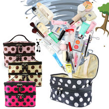 Fashion Women Portable Cosmetic Retro Dot Pattern Beauty Makeup pouch Hand Case Bag