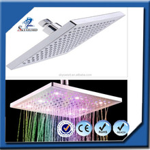Fixed ceiling square colorful led shower and faucet
