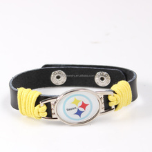 Sports Leather Bracelets Pittsburgh Steelers Leather Adjustable Bracelet Wristband Cuff 12mm Leather Snap Button Charm Jewelry
