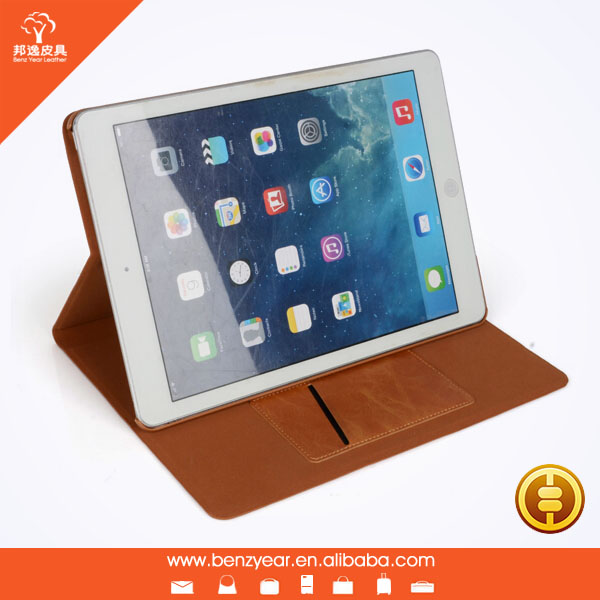 Fashion brown color genuine leather tablet case for ipad air/2