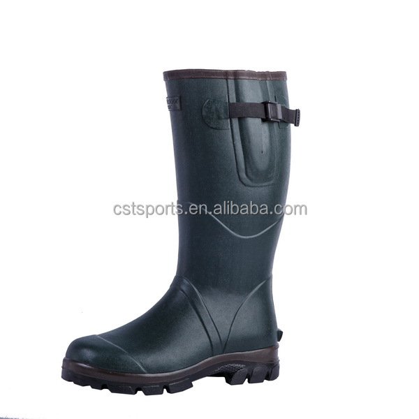 Dark green natural rubber men's rain boot
