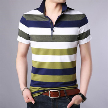 Free Shipping Summer High Quality Business Men Polos Fashion Striped Tee Shirt