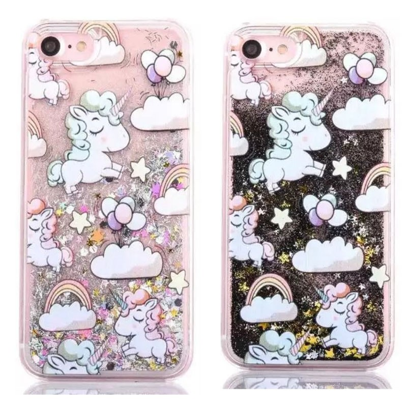 For iphone 7 Phone Case Dreamlike Unicorn Style Hard Plastic Shining Liquid Quicksand Flow case for iPhone case