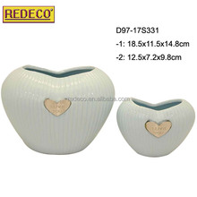 beautiful striped heart shaped ceramic flower pot for indoor decoration
