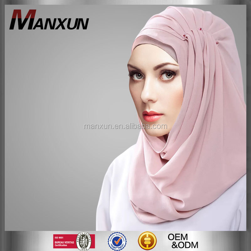 Muslim hijab Cap Popular Latest Hot Women Hijab Islamic Chiffon Scarf Malaysia Jewelled Hijab