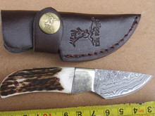 Forged Straight Knife With Antlers Handle Damascus Blade Mini Pocket Knife