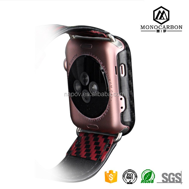 2017 Promotional Protective Real Carbon Fiber Square Watch Case Cover For iWatch Series 2 42mm