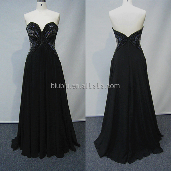 Sexy Sweetheart Backless Gorgeous Beaded Chiffon A-line Black Evening Maxi Dresses JS90012