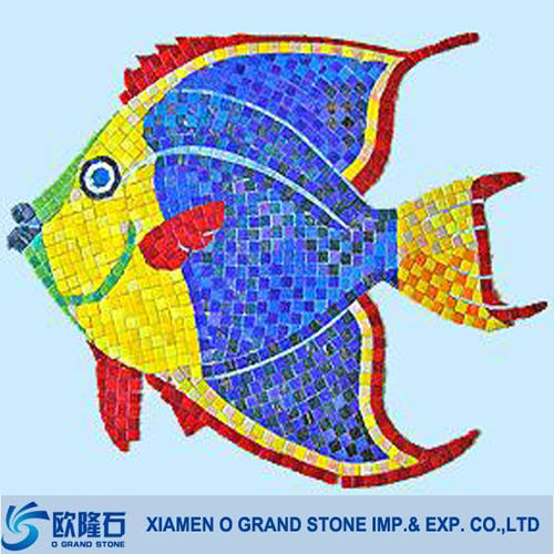 natural blue swimming pool fish scale mosaic tile picture