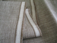 100% Linen Fabric Yarn Dyed Tiny Plaid For Pants Suits Wear Coffee Beige Color