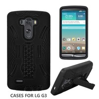 New Hybrid shockproof hard kickstand PC+Silicon cover multi-color mobile phone case for LG G3 Stylus