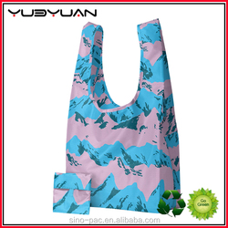 Wholesale Nice Printed Waterproof Recyclable Polyester Foldable Ripstop Nylon Shopping Tote Carry Bags With Samll Nylon
