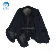 Customized color piece dye knitted poncho with flouncing