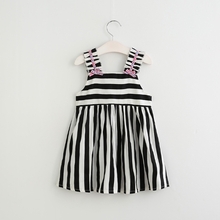 PHB51246 black and white striped girls dresses 2017 picture