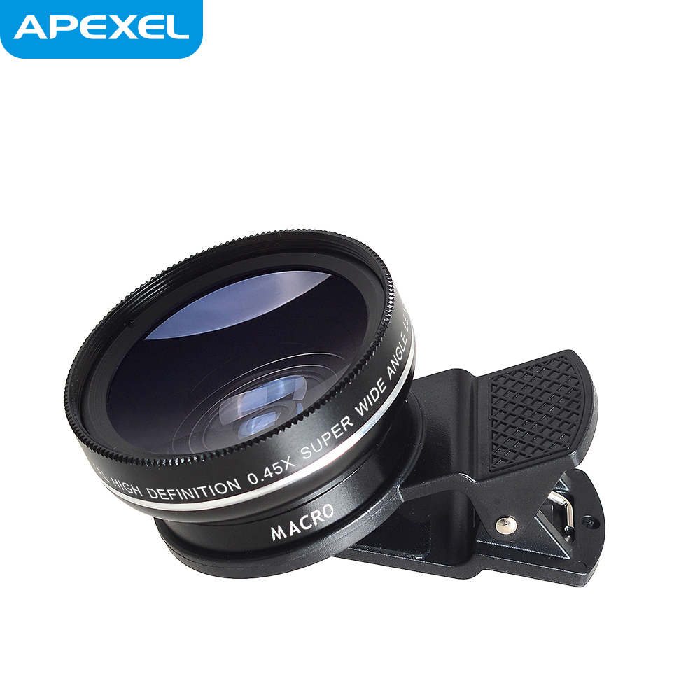 Apexel best seller on Amazon good quality universal clip mobile phone 0.45x wide angle+12.5x macro 2 in 1 clip on lens