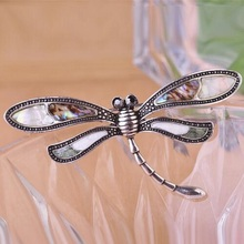 Elegant Antique Silver Plated Abalone Shell Dragonfly Brooch For Women