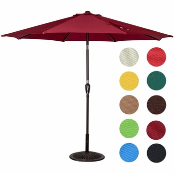 9 Feet Outdoor Aluminum Patio Umbrella with Auto Tilt and Crank
