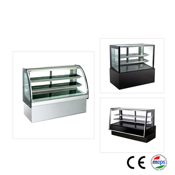 Hot sale commerical curved glass cake showcase display