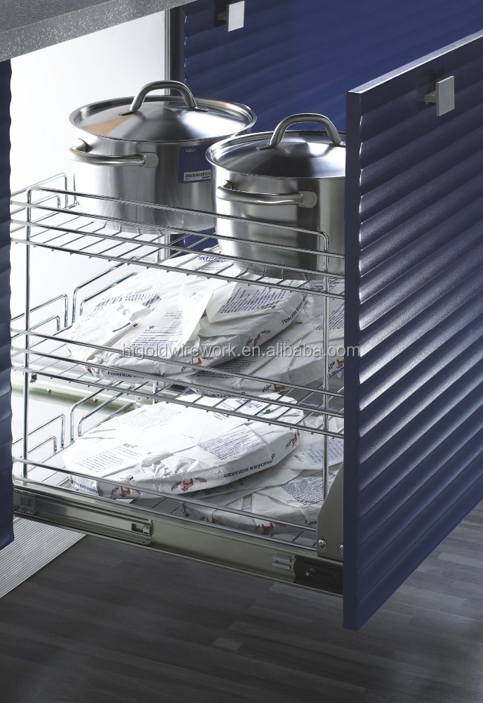 Kitchen metal wire cabinet sliding basket