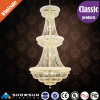 Wholesale 32 lights golden big crystal pendant lamp