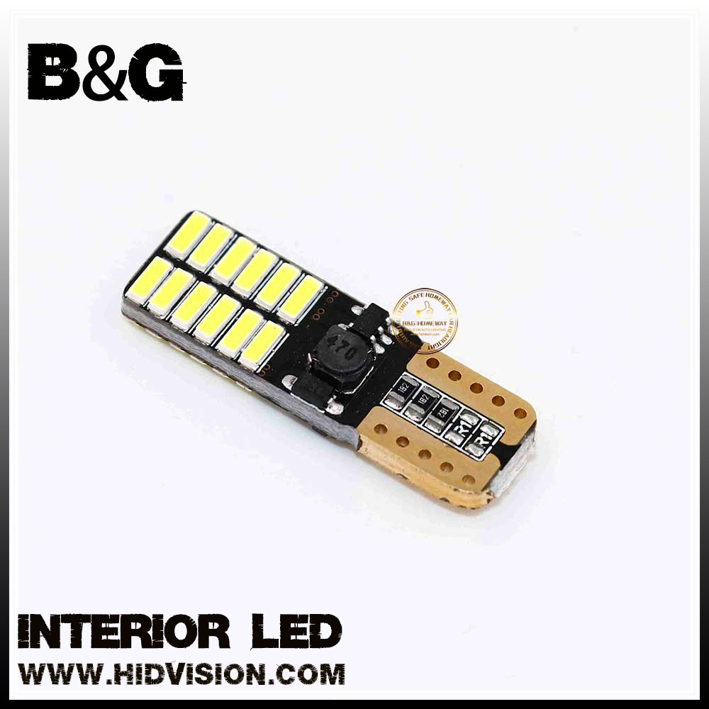 T10 W5W LED white 24-SMD 4014 Chipset LED Bulbs Canbus for T10 168 194 Car Interior Dome Map Sidemarker License Plate Lights