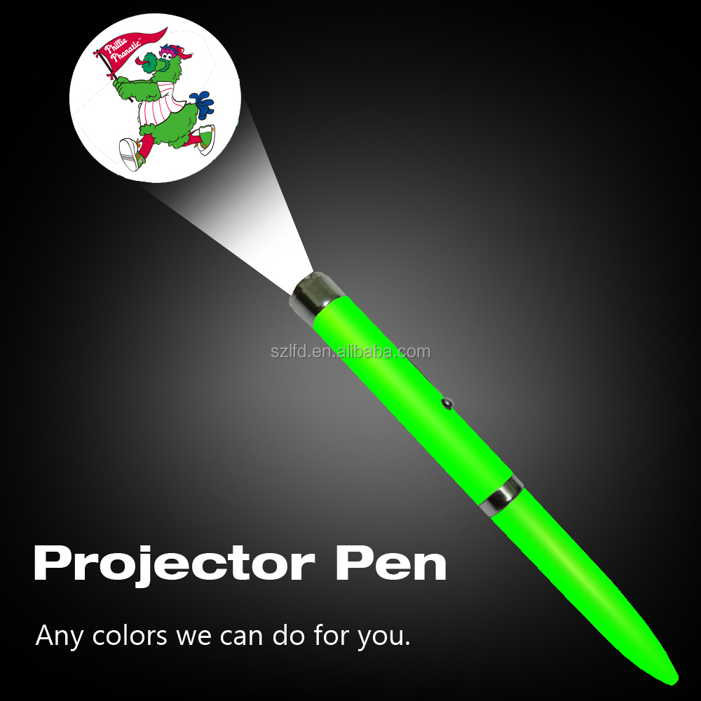 Promotional gift led projector logo pen customized logos metal ballpen flashlight