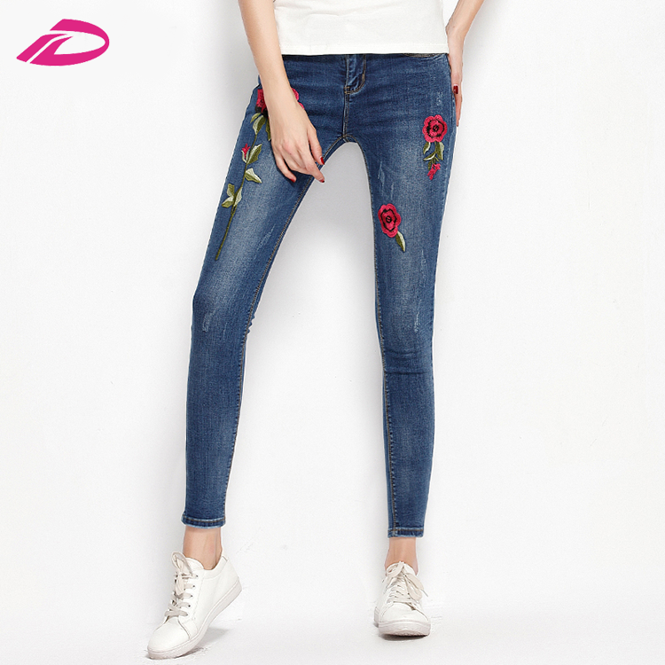 Stretch Embroidered organza fabric new model Elastic Flower Female Pencil Denim Rose Pattern Pantalon levi jeans