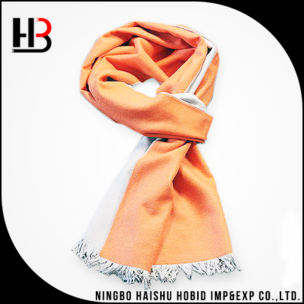 Winter warm scarf orange color 100% brushed silk scarf