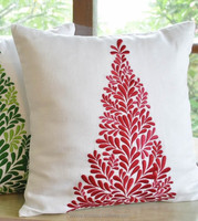 Linen embroidery christmas tree pattern cushion cover