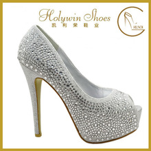 2015 Elegance crystal fashion rhinestone peep toe shoes platform women's high heels hoes evening shoes