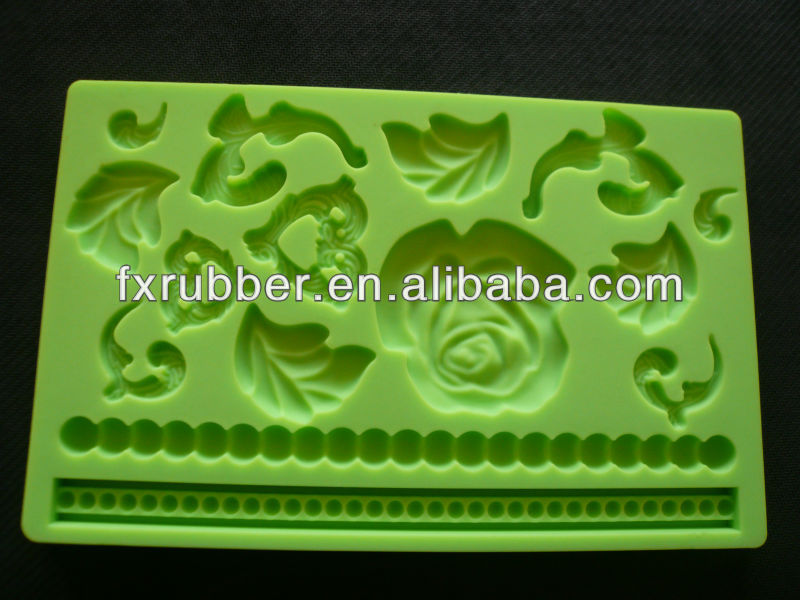Flower Lace Fondant Gum Paste Baroque Designs Silicone Mold