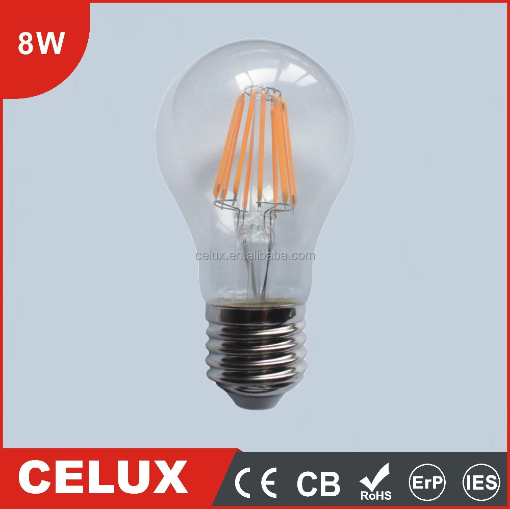 8W CE EMC RoHs E14 Base 360 Degree candle light led filament bulb